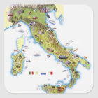 Map of Italy Square Sticker