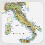 Map of Italy Square Stickers