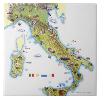 Map of Italy Large Square Tile