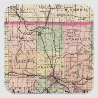 Map of Jackson County, Michigan Square Sticker