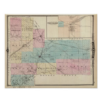 Map of Jackson County, Plat of Friendship Poster