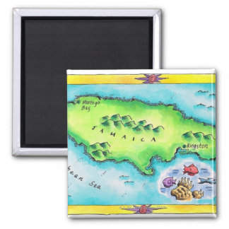 Map of Jamaica 2 Inch Square Magnet