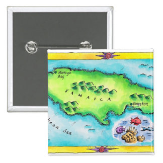 Map of Jamaica Button