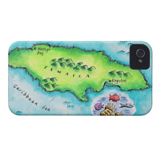 Map of Jamaica iPhone 4 Cover