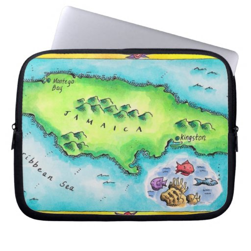 Map of Jamaica Laptop Sleeves