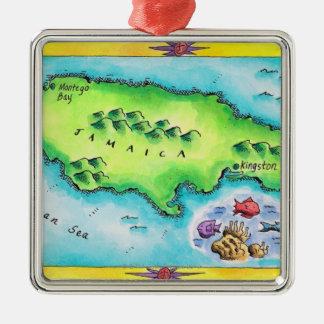 Map of Jamaica Metal Ornament