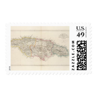 Map of Jamaica Postage Stamp