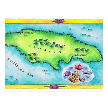 prophoto Map of Jamaica Postcard