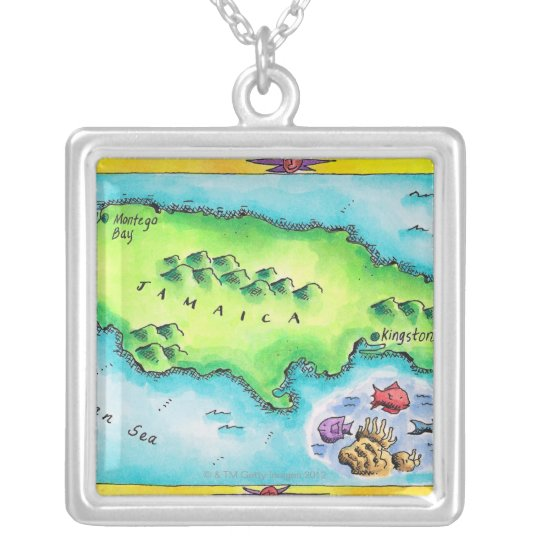 Map of Jamaica Silver Plated Necklace