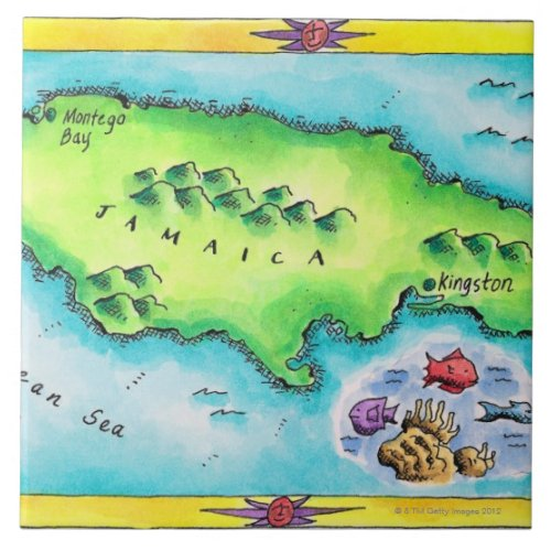 Map of Jamaica Tile