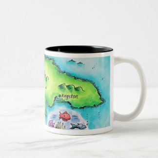 Map of Jamaica Two-Tone Coffee Mug