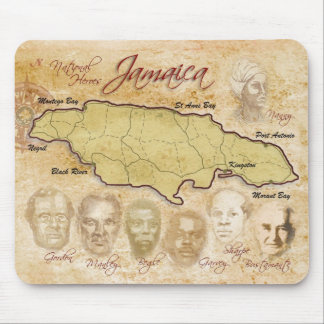 Map of Jamaica with National Heroes Mouse Pad