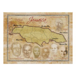 Map of Jamaica with National Heroes Poster