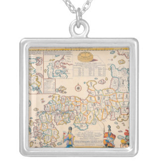 Map of Japan 3 Square Pendant Necklace