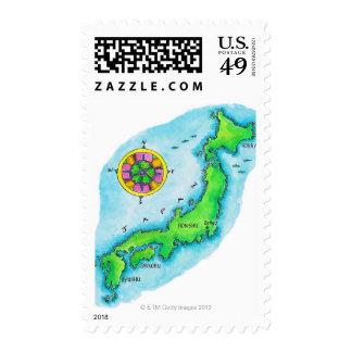 Map of Japan Stamp