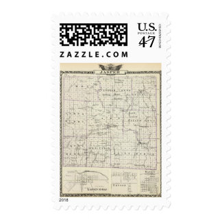 Map of Jasper County, Lawrenceville Postage Stamp
