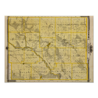 Map of Jasper County, State of Iowa Poster