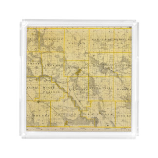 Map of Jasper County, State of Iowa Serving Tray