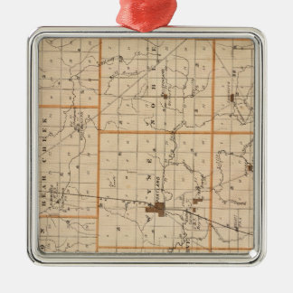 Map of Jay County Square Metal Christmas Ornament