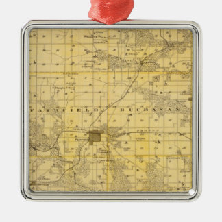 Map of Jefferson County, State of Iowa Square Metal Christmas Ornament