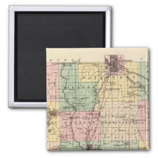 Map of Jefferson County, State of Wisconsin 2 Inch Square Magnet