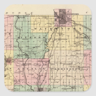 Map of Jefferson County, State of Wisconsin Square Sticker
