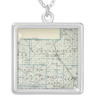 Map of Jersey County Silver Plated Necklace