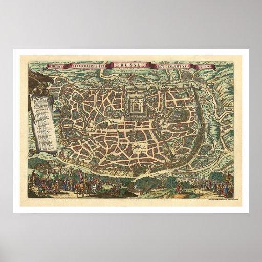 Map of Jerusalem by Nicolaes Visscher 1660 Poster