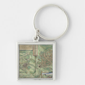 Map of Jerusalem, from 'Civitates Orbis Terrarum' Silver-Colored Square Keychain