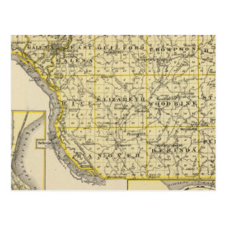 Map of JoDaviess County, Moline and Dunleith Postcard