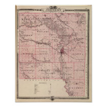 Map of Johnson County, State of Iowa Poster