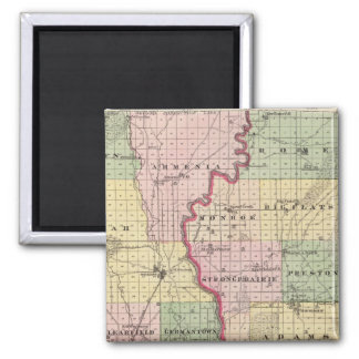 Map of Juneau and Adams counties 2 Inch Square Magnet