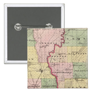 Map of Juneau and Adams counties Pinback Button