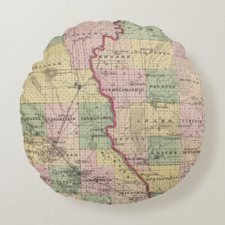 Map of Juneau and Adams counties Round Pillow