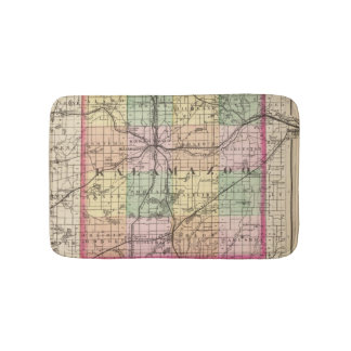 Map of Kalamazoo County, Michigan Bathroom Mat