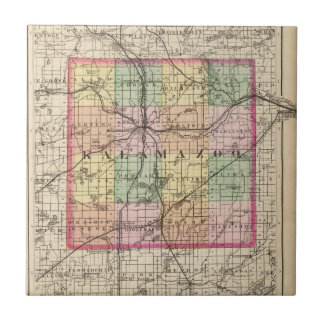 Map of Kalamazoo County, Michigan Ceramic Tile