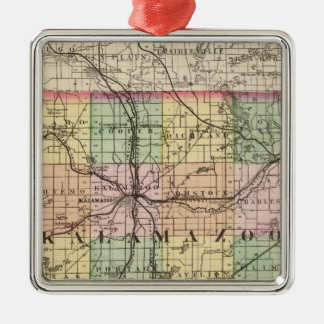 Map of Kalamazoo County, Michigan Metal Ornament