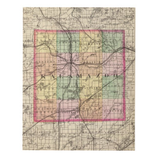Map of Kalamazoo County, Michigan Panel Wall Art
