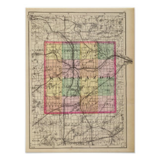 Map of Kalamazoo County, Michigan Poster