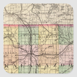 Map of Kalamazoo County, Michigan Square Sticker
