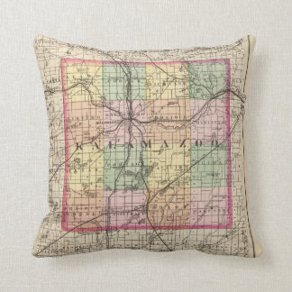 Map of Kalamazoo County, Michigan Throw Pillow