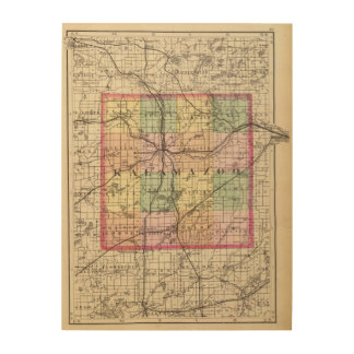 Map of Kalamazoo County, Michigan Wood Wall Art