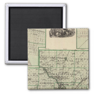 Map of Kankakee County, Kankakee and Gilman 2 Inch Square Magnet