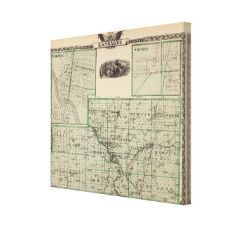 Map of Kankakee County, Kankakee and Gilman Canvas Print