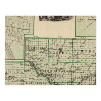 Map of Kankakee County, Kankakee and Gilman Postcard