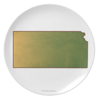 Map of Kansas Dinner Plate