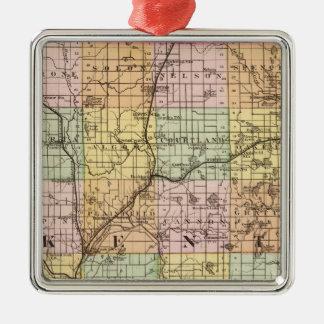 Map of Kent County, Michigan Metal Ornament