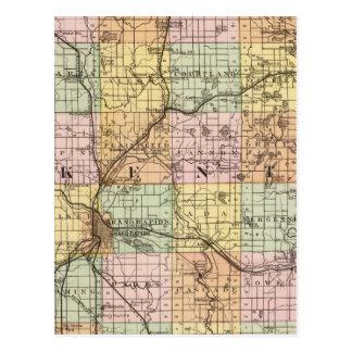 Map of Kent County, Michigan Postcard