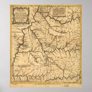 Map of Kentucke (Kentucky) from 1784 Poster
