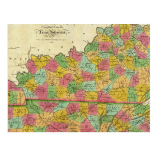 Map of Kentucky and Tennessee Postcard